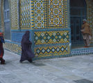 Afghanistan, Muslim women in purdah by mosque