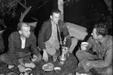 Afghanistan, Joe Donohue, Bill Roy, and Jim Luquer smoking hookah