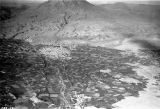 Arequipa (Peru), aerial view of town and El Misti volcano