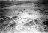 Chile, aerial view of hilly desert terrain