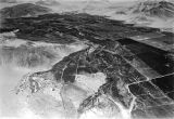 Chile, aerial view of cultivated valley