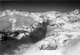Argentina, aerial view of snow capped mountains from flight across Andes