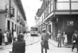 Colombia, view of street car on narrow street in Medellín
