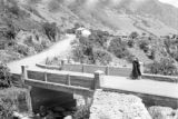 Venezuela, walking on bridge over stream in Chachopo