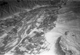 Argentina, aerial view of mountains and cultivated valley near Tinogasta