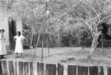 Brazil, standing near in yard with monkey at Fazenda Munezes