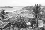 Brazil, view overlooking mouth of Rio Cachoeira at Ilhéus and Atlantic Ocean