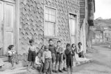 Chile, group of children near building