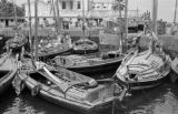 Brazil, boats docked along waterfront in Salvador