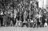 Bolivia, spectators lining street at Lady of Fatima parade in La Paz