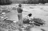 Bolivia, Indian family panning for gold from Tipuani River in La Paz