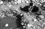 Bolivia, woman in La Paz scooping mud from shallow hole to find gold