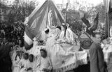 Bolivia, girls riding float in Lady of Fatima parade in  La Paz