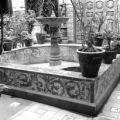 Peru, fountain at courtyard of ornate home in Lima