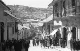Bolivia, view of mountains from crowded La Paz street