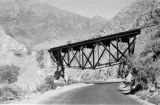 Peru, Verrugas Bridge over highway through Andes