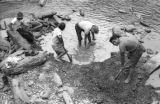 Bolivia, workers digging mud to extract gold from Tipuani River in La Paz