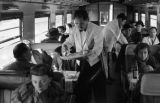 Peru, waiters serving first class on Central Railway (Ferrocarril Central del Perú)