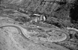 Peru, view of road and buildings in valley