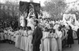 Bolivia, girls surrounding float in Lady of Fatima parade in La Paz