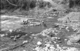 Bolivia, workers mining for gold from Tipuani River in La Paz
