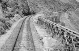 Peru, railroad tracks along bridge structure