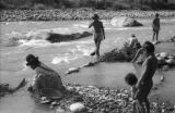 Bolivia, people panning for gold from Tipuani River in La Paz