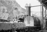 Peru, railroad employees loading car of Central Railway (Ferrocarril Central del Perú)