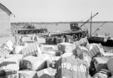 Argentina, workers and cargo on pier