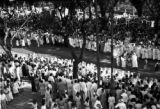 Brazil, Nazareth procession on Avenida Presidente Vargas from balcony at Grande Hotel in Belém