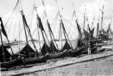 Brazil, row of boats docked at Belém waterfront