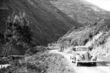 Peru, automobile driving along mountain road