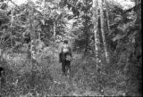 Peru, man carrying Harriet Platt's bags through jungle trail