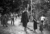Peru, villagers gathered in road