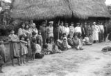 Peru, group photograph of Harriet Platt and villagers