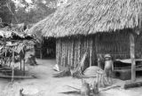 Brazil, exterior of kitchen in thatched roof hut