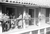 Colombia, Harriet Platt and Torres family on balcony