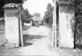 Colombia, house and car through gate in Cundinamarca Department