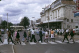 Kenya, people crossing street in Nairobi