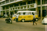 Ghana, Ghana Airways van parked in front of Leventis building  in Accra