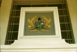 Ghana, coat of arms on Parliament House of Ghana in Accra