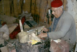 Tunisia, leather-worker making shoes
