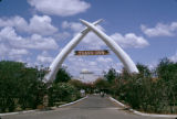 Kenya, arch across entrance to Tsavo Inn in Mtito Andei