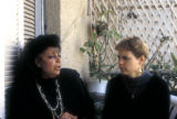 Cairo (Egypt), Caroline Seymour-Jorn talking with Egyption writer, Neamat el-Bihiri