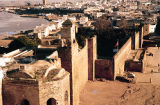 Morocco, Rabat cityscape and harbor on Bou Regreg river
