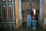 Cairo (Egypt), Caroline Seymour-Jorn and her husband in front of mihrab in tomb of Mohammad Reza...