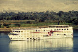 Luxor (Egypt), view of boat on Nile River and west bank