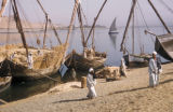 Egypt, cargo boats at the shoreline
