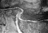 South Africa, aerial view of confluence of Motloutse River and Limpopo River separating South...