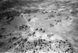 Zambia, aerial view of irrigated pastures of Copeman farm northwest of Lusaka